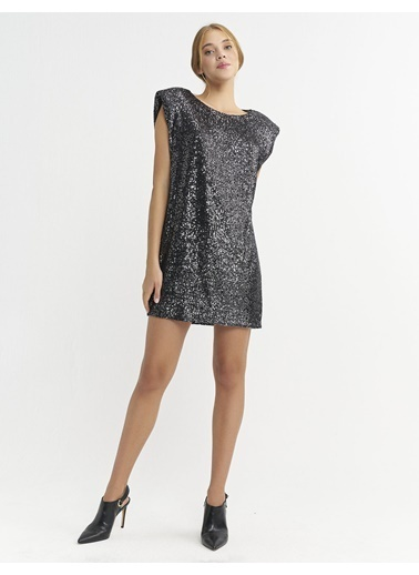 BGN Antrasit - Vatkalı Payet Mini Elbise Antrasit